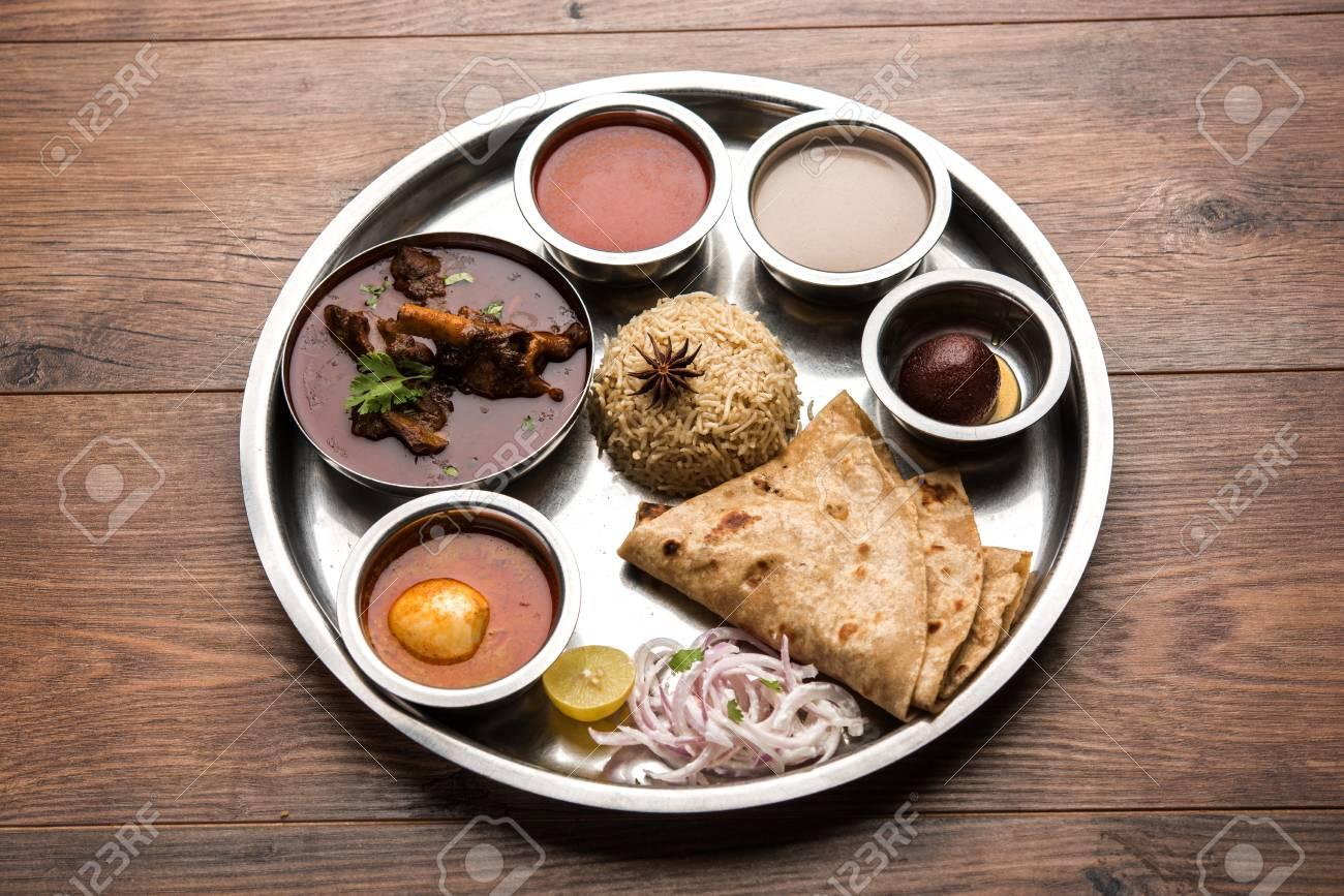 Motton Thali OR Gosht Lamb Platter Is Indian Asian Non Veg Lunch Dinner