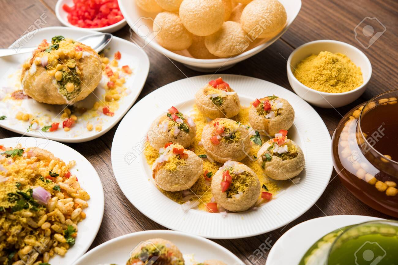 group of Bombay chat food includes golgappa/panipuri, bhel-puri,
