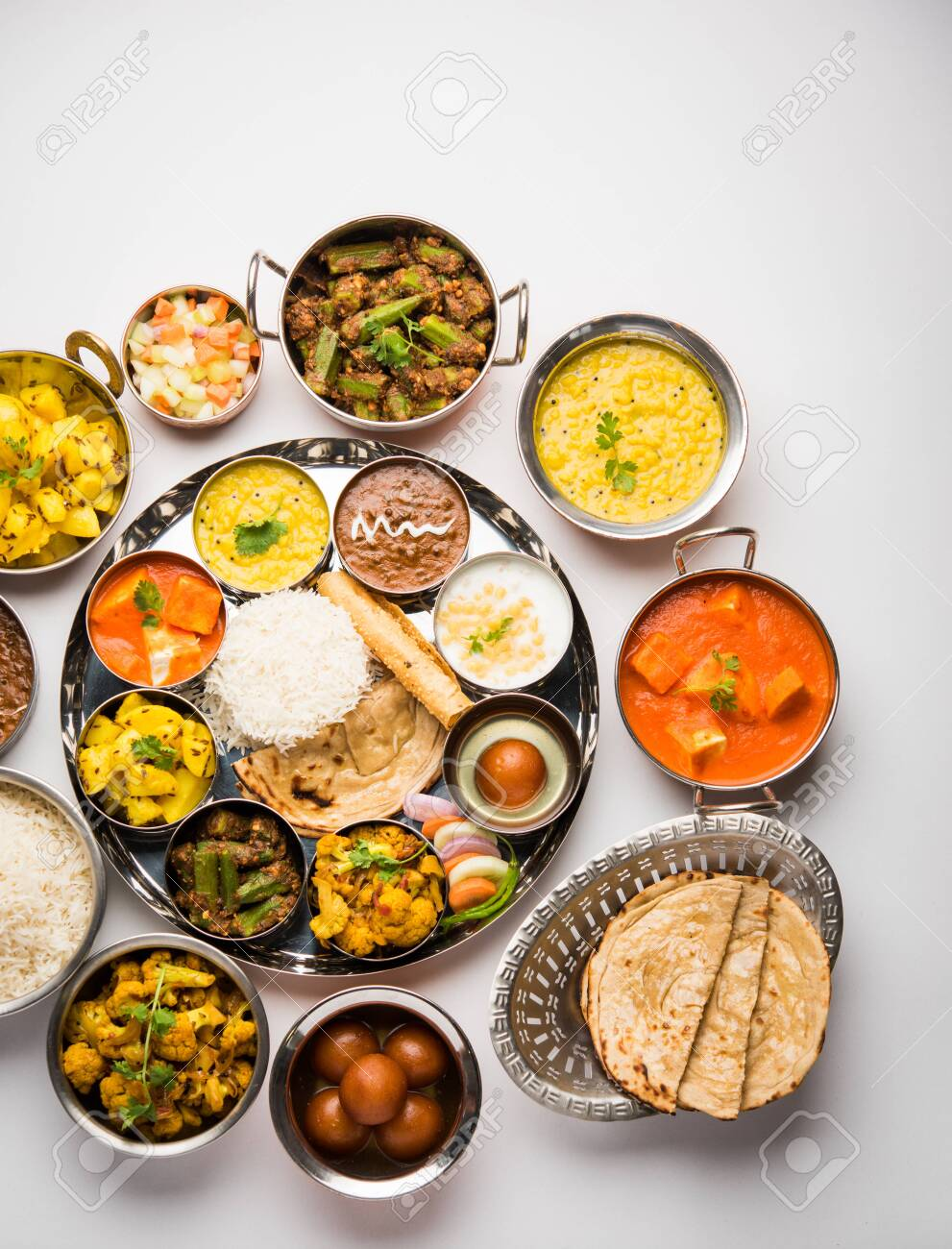 Indian Hindu Veg Thali Food Platter Selective Focus Stock Photo Picture And Royalty Free Image Image 125859383