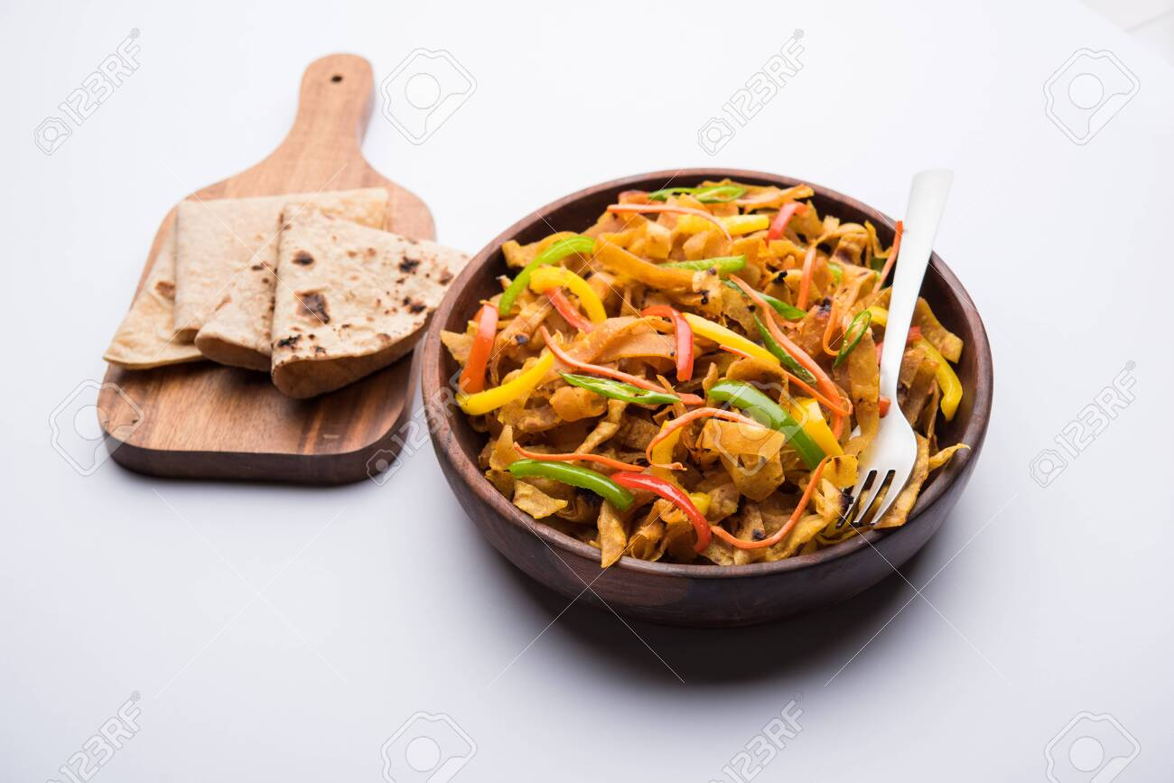 Leftover Chapati noodles also known as fodnichi holi or Upma is a great substitute for traditional unhealthy noodles for kids, selective focus - 127311109