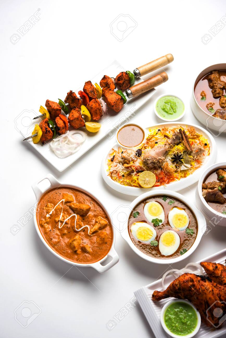 Assorted Indian Non Vegetarian Food Recipe Served In A Group Stock Photo Picture And Royalty Free Image Image 128900001