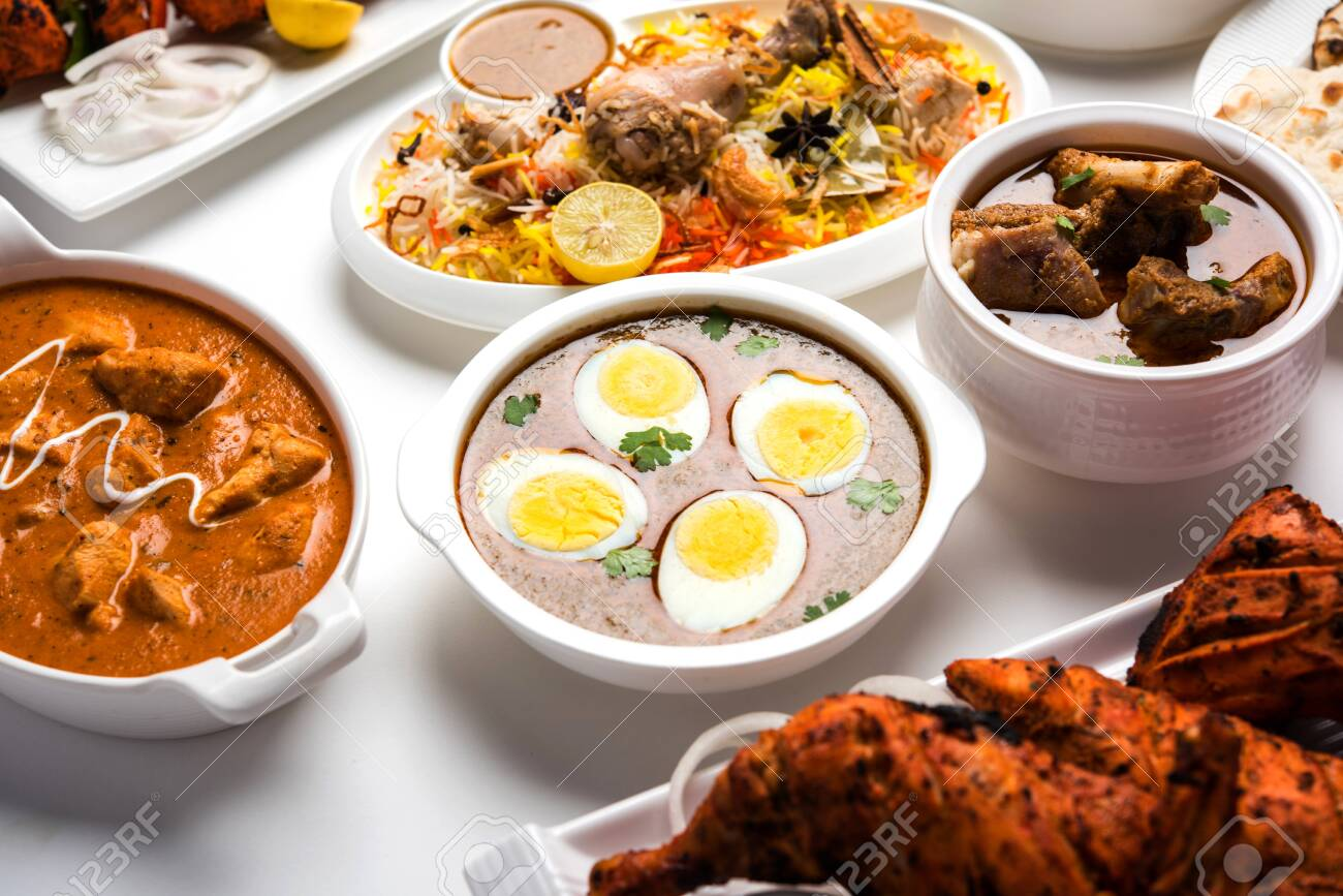 Assorted Indian Non Vegetarian Food Recipe Served In A Group Stock Photo Picture And Royalty Free Image Image 128900000