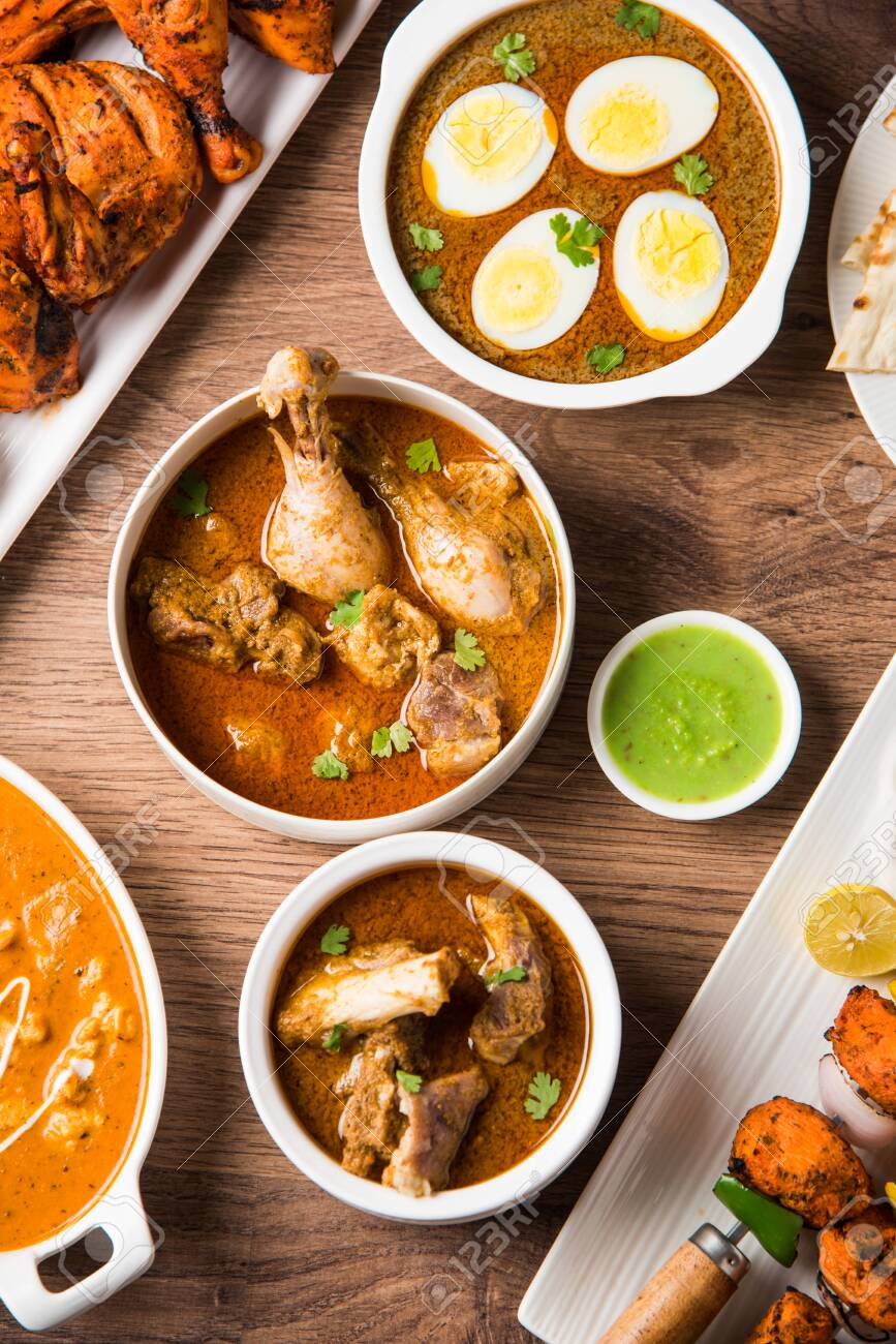 Assorted Indian Non Vegetarian Food Recipe Served In A Group Stock Photo Picture And Royalty Free Image Image 128900100