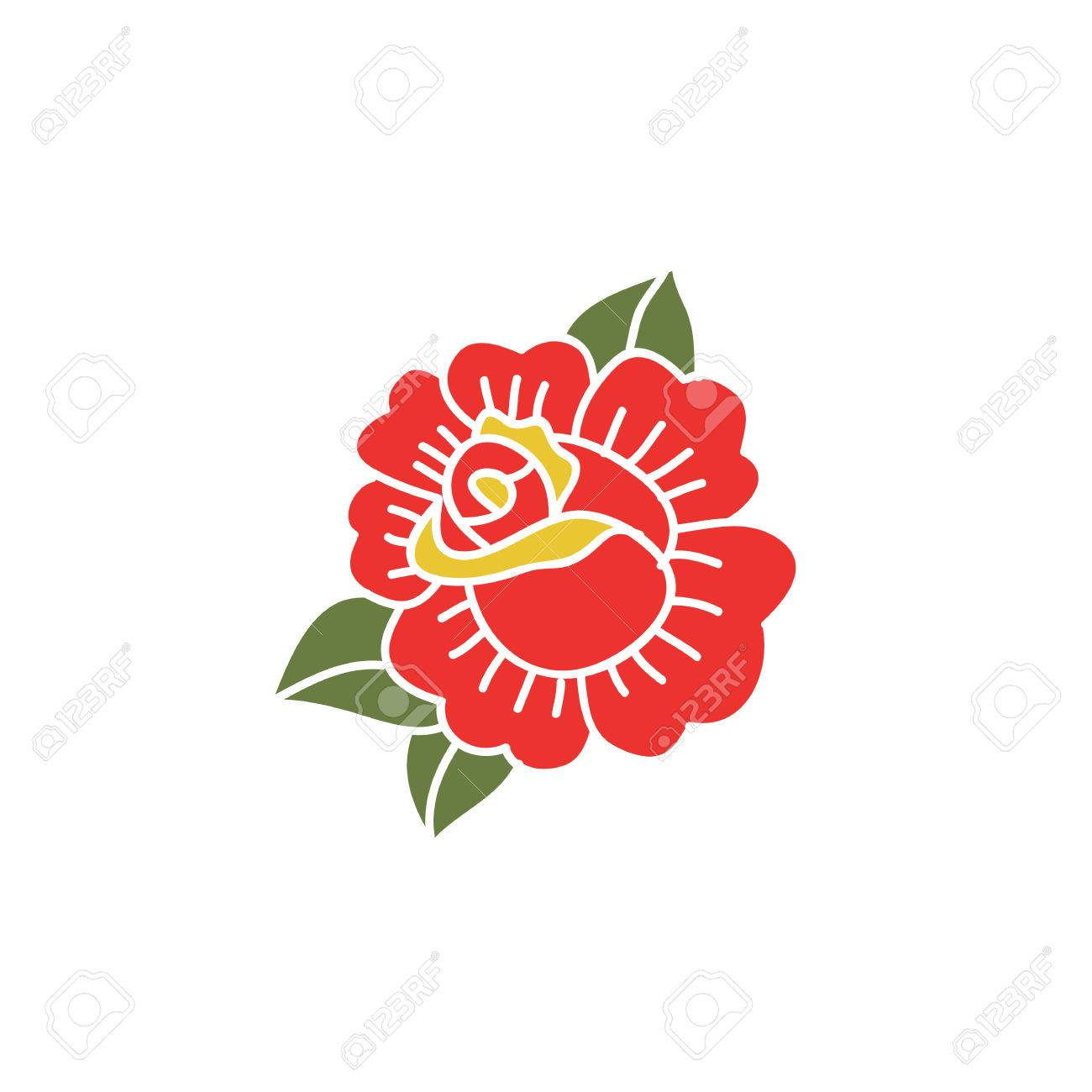 798e2932e doodle icon. rose flower. traditional tattoo flash. vector illustration Stock  Vector - 81129297