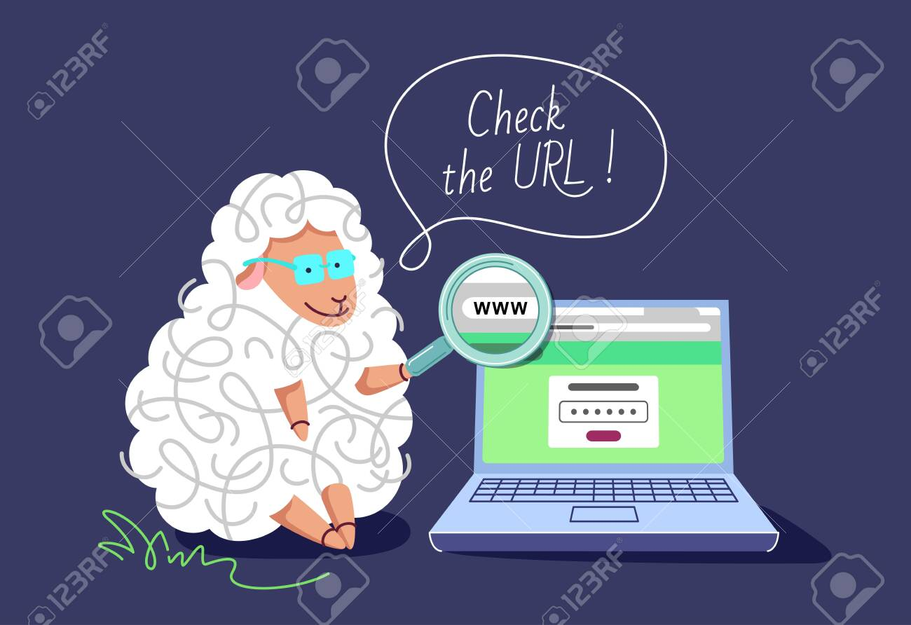 Pharming and phishing concept. The clever sheep with a laptop and magnifying glass, teaching to check the URL, not to be redirected to the fake web site. - 151536938