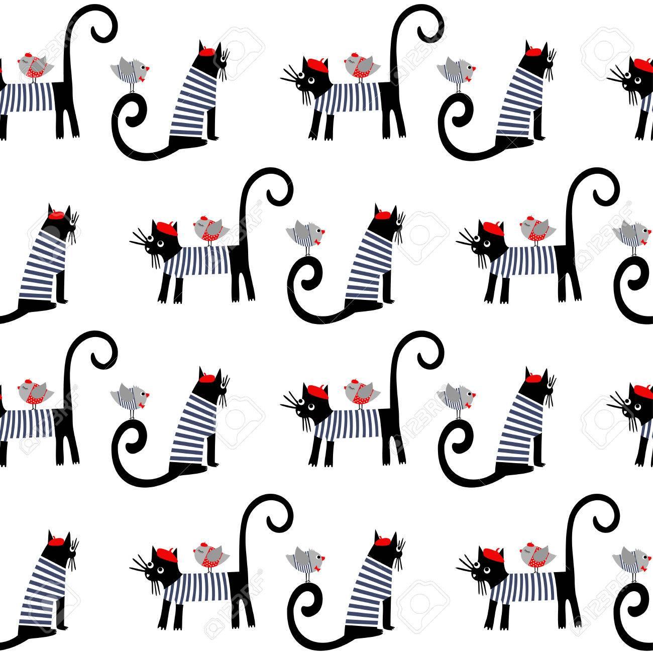 Animales Vestidos De Estilo Francés Inconsútiles Del Modelo. Gatos ...