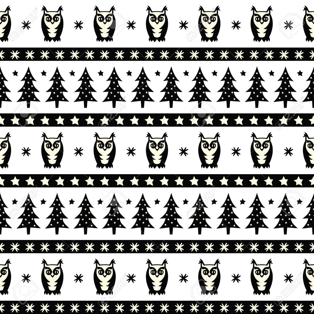 Patrón De Bosque De Invierno Blanco Y Negro - árboles De Navidad ...