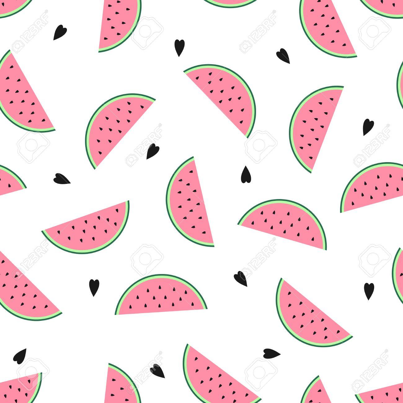 ピンクのスイカのスライスとシームレスな背景は かわいいフルーツ パターン 夏食品ベクトル イラスト テキスタイル 壁紙 Web 生地 装飾のデザイン の イラスト素材 ベクタ Image