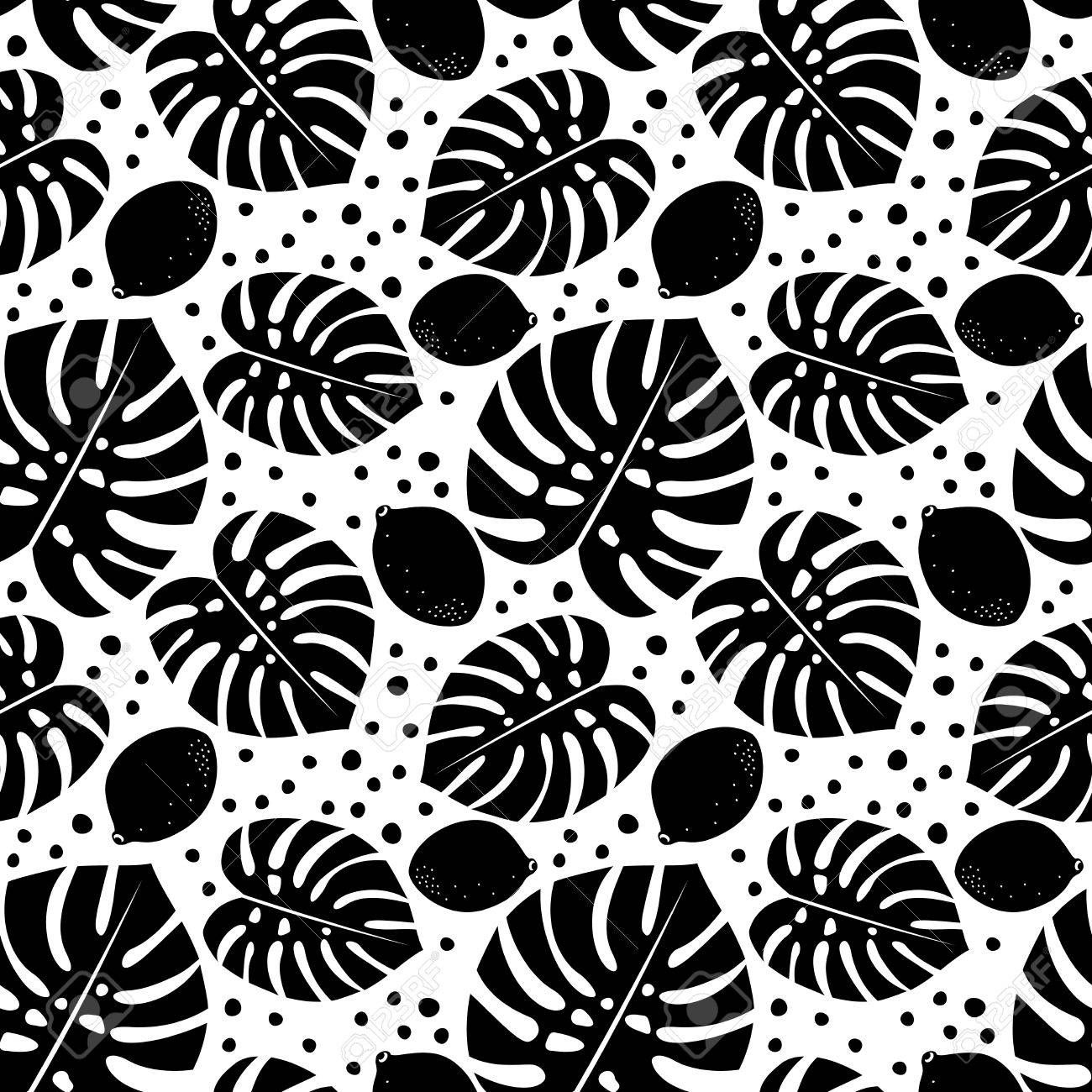 Motif Decoratif Sans Soudure En Noir Et Blanc Avec Des Citrons Et