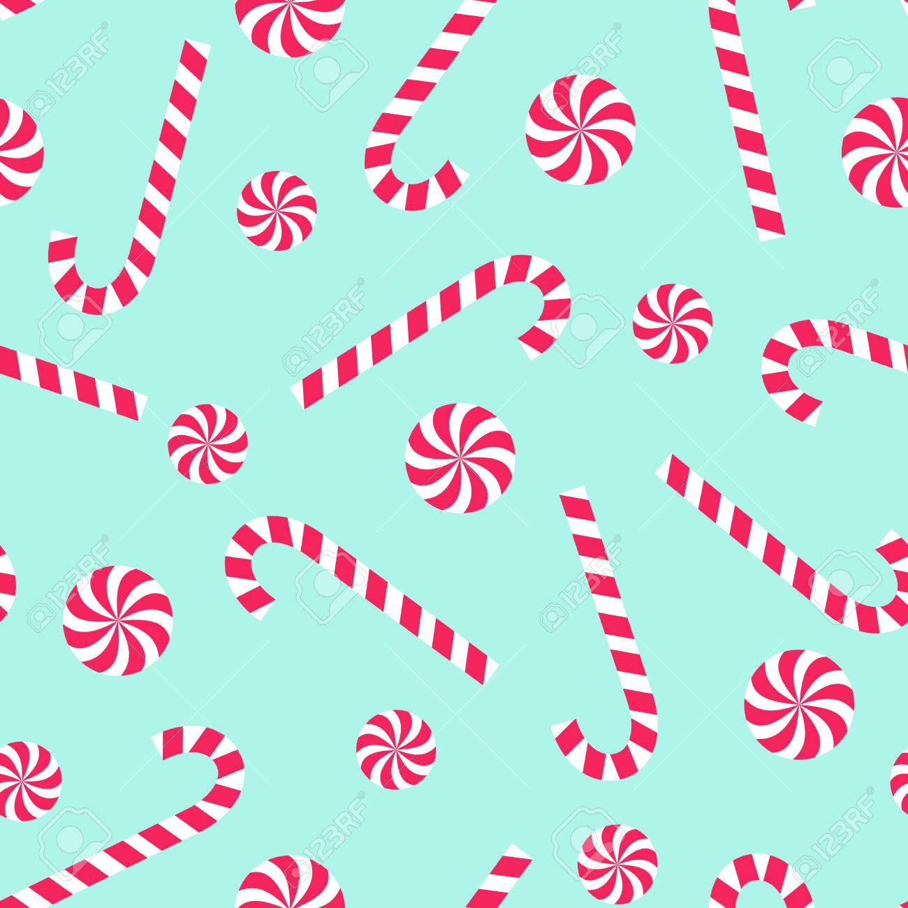 Candy Cane And Lollipop Seamless Christmas Pattern On Mint Green