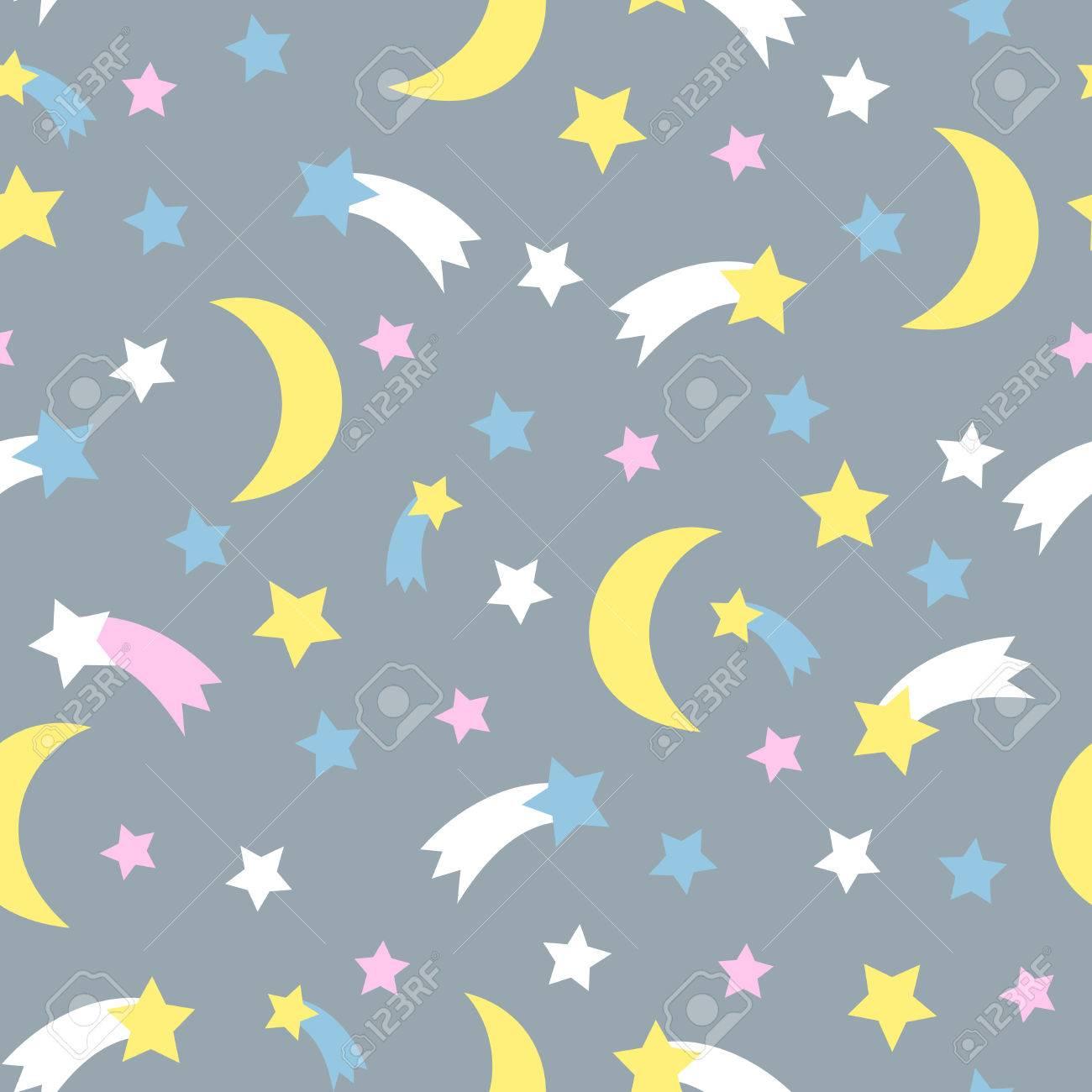 Cielo Estrellado Patrón Transparente Niño Fondo Del Estilo Del