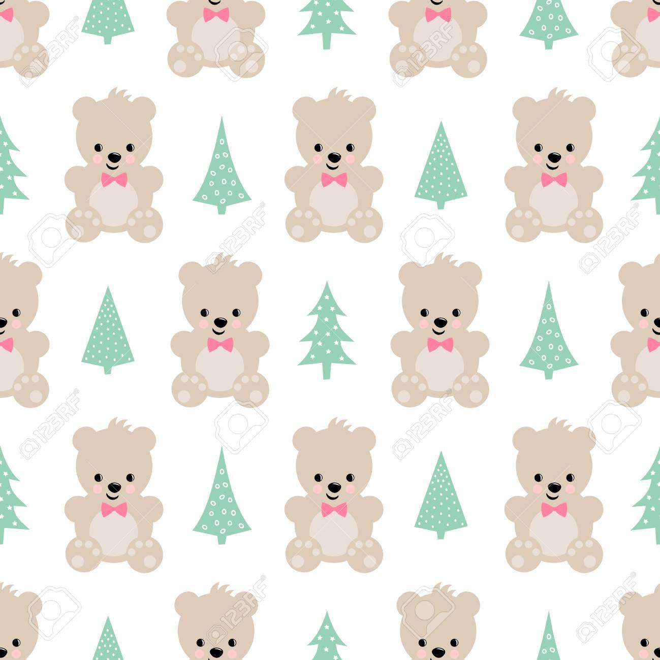 Oso De Peluche Con árboles De Navidad Patrón Transparente Sobre ...