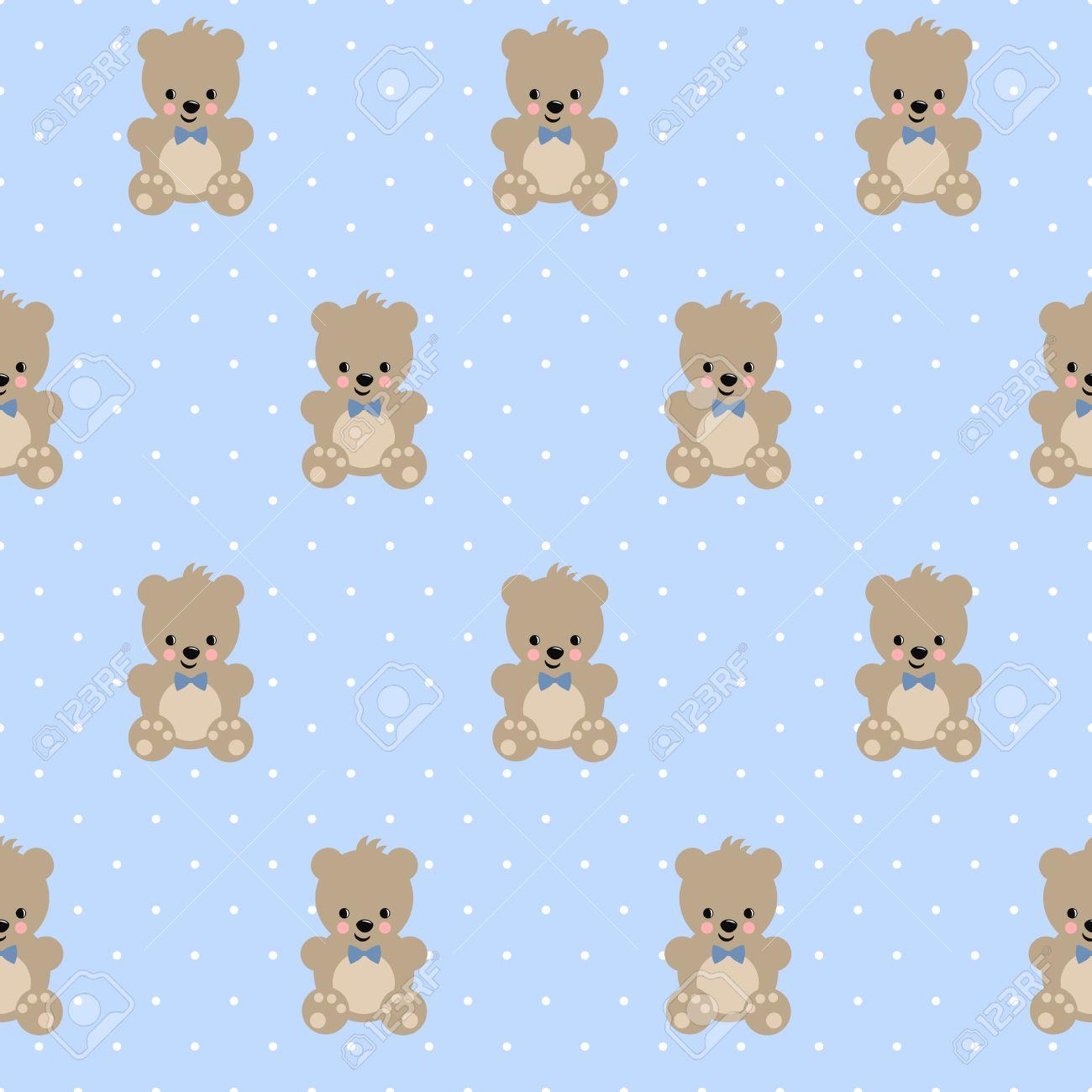 テディベア水色水玉の背景にシームレス パターン クマの赤ちゃん