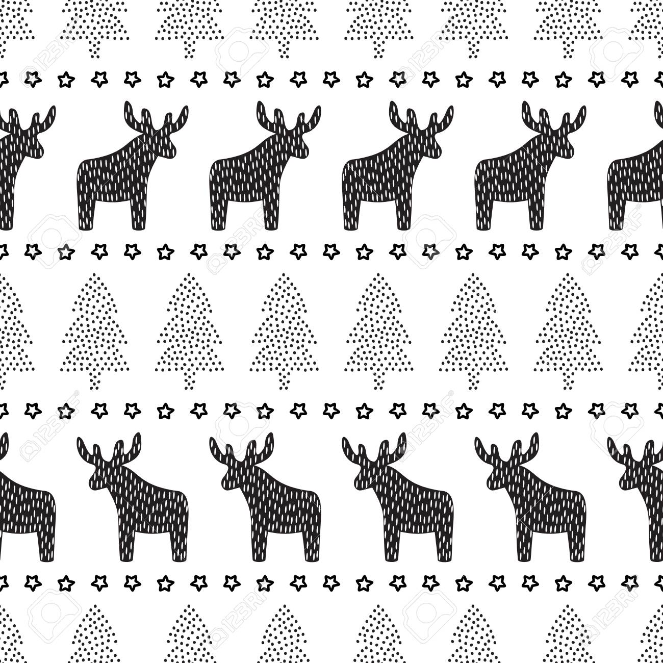 Christmas Seamless Pattern Black And White Christmas Background
