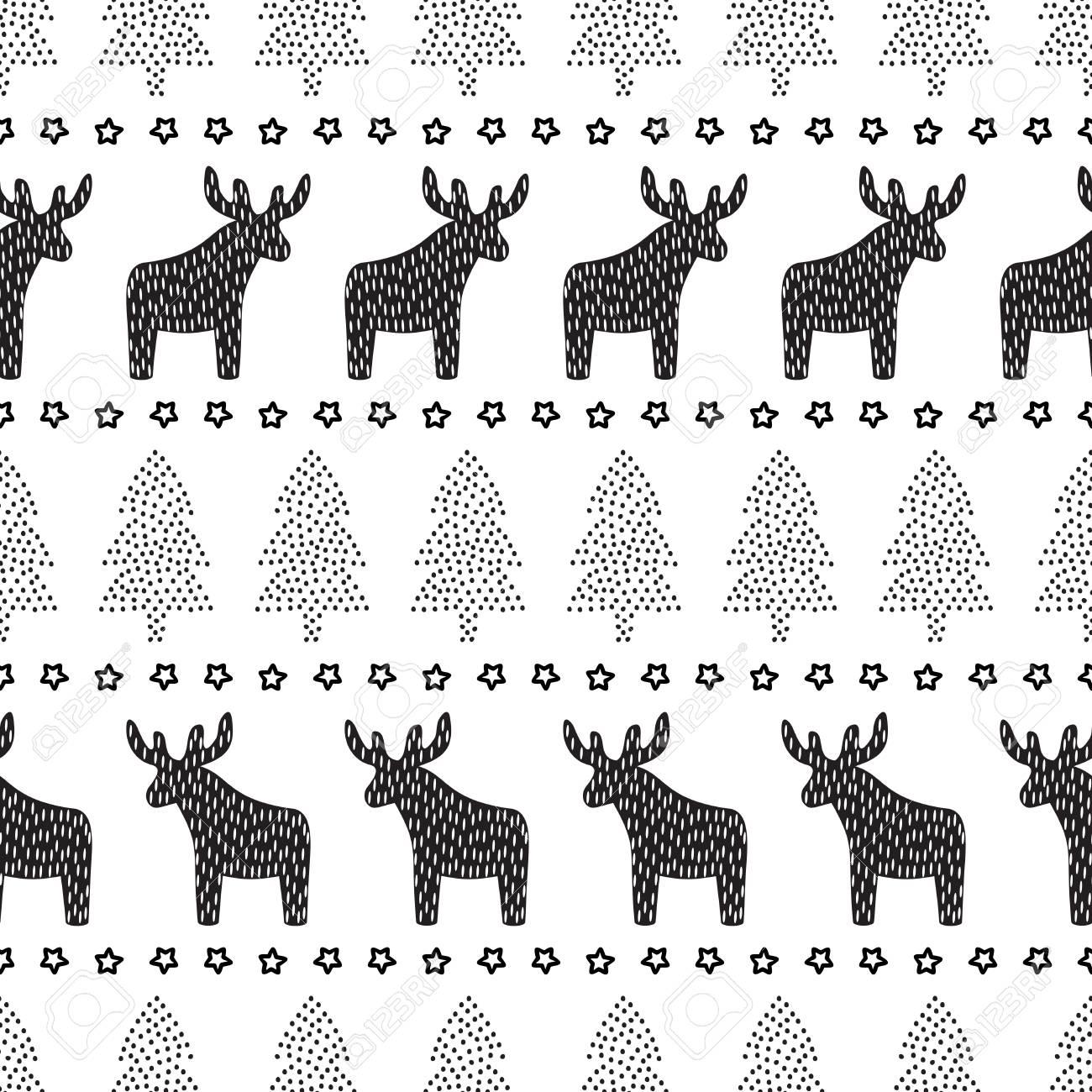 Schwarzweiße Weihnachten Hintergrund   Xmas Bäume, Hirsche Und Sterne.  Skandinavische Pullover Stil. Design Für Textilien, Tapeten, Web, Stoff,  Dekor Etc.