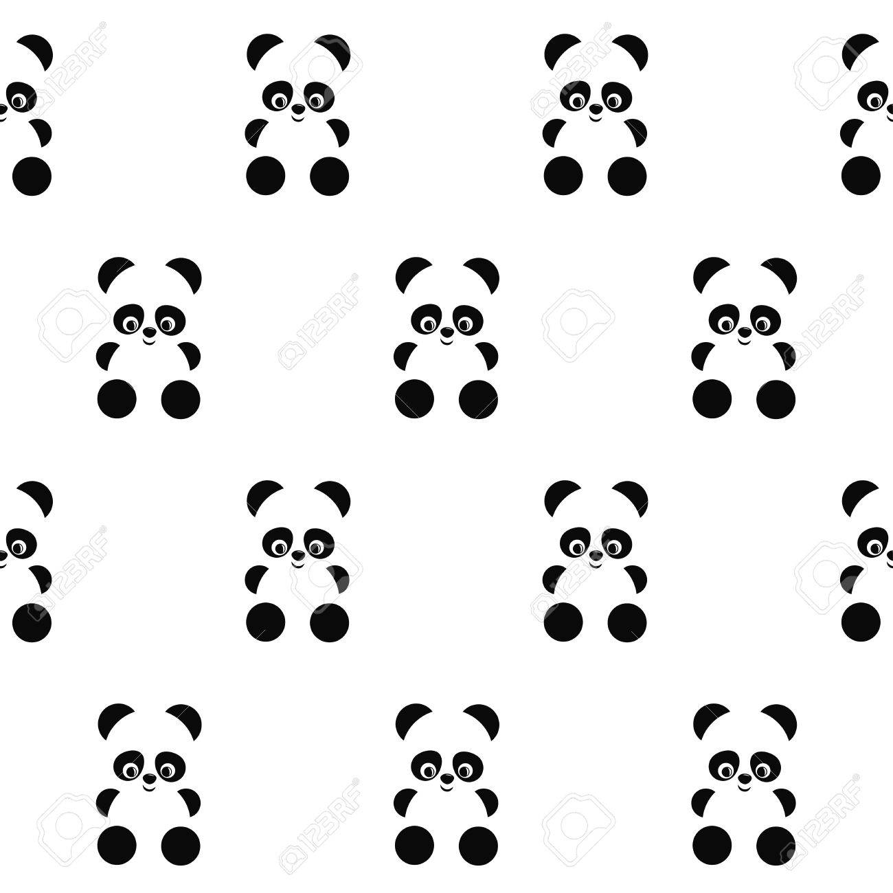 Panda seamless pattern on white background. Cute design for print on baby's clothes, textile