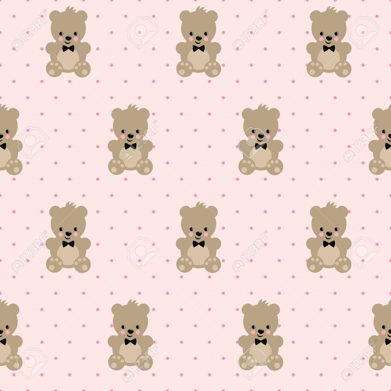 テディベア ピンクの水玉背景にシームレス パターン クマの赤ちゃん