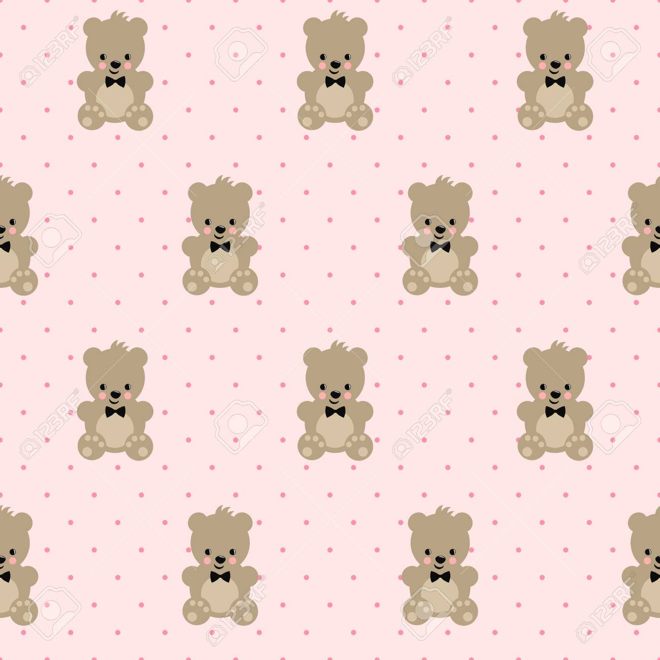 Teddy Bear Seamless Pattern On Pink Polka Dots Background Cute