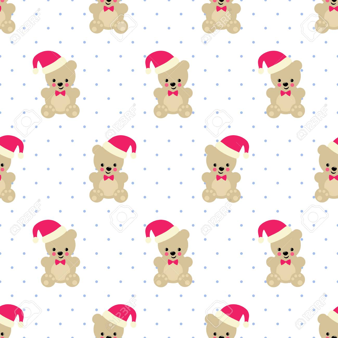 40650d63daf Vector - Xmas Teddy Bear with Santa hat seamless pattern on white polka  dots background. Cute vector with baby bear. Design for print on baby s  clothes
