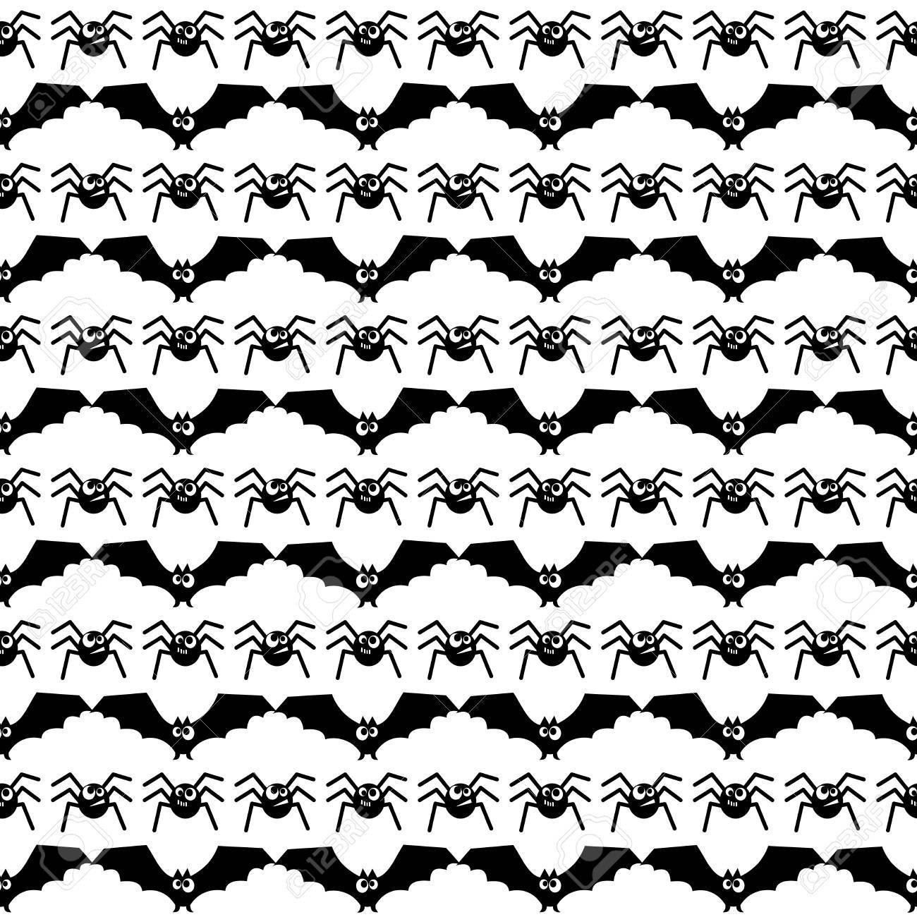Patrón De Halloween Con Murciélagos Y Arañas. Fondo Transparente De ...