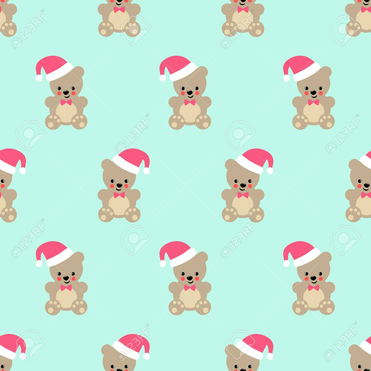 Teddy Bear With Santa Hat Seamless Pattern Cute Vector With