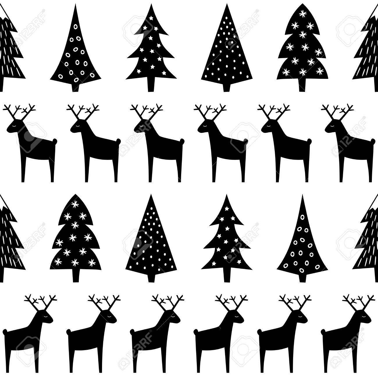 Motif De Noël   Xmas Arbres, Les Rennes Et Les Flocons De Neige
