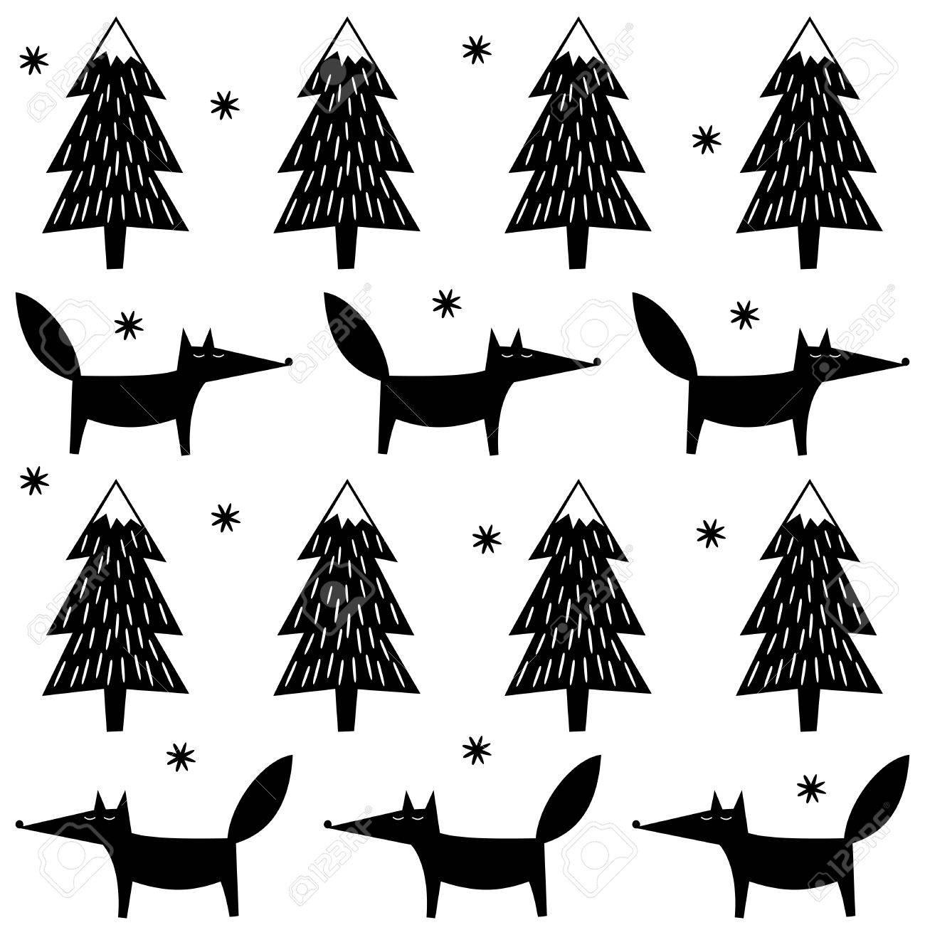 Fox, árboles De Navidad Y Modelo Inconsútil De Los Copos De Nieve ...
