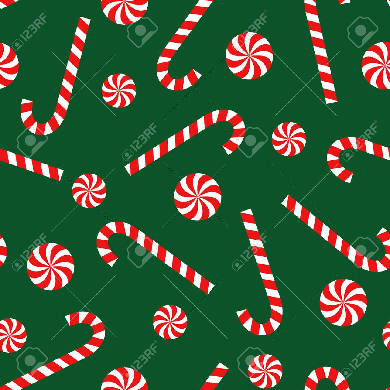 Candy Cane And Lollipop Seamless Christmas Pattern On Green Background Happy New Year Merry