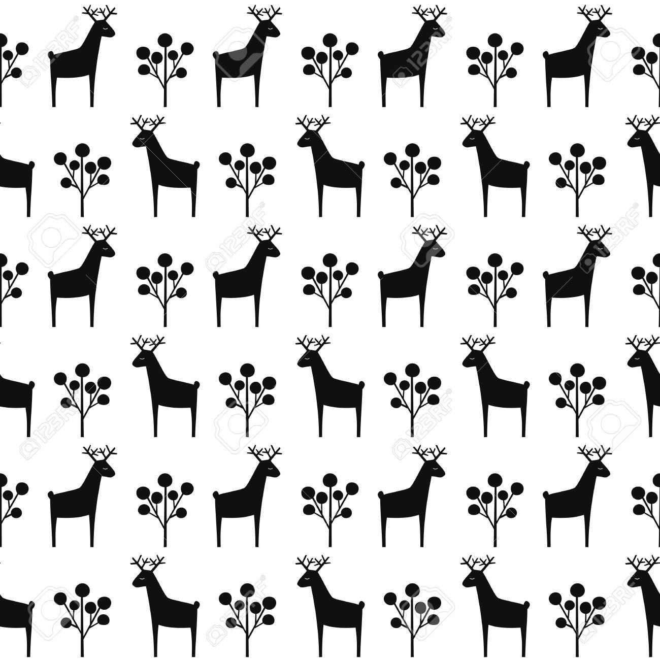 Cerf Noir Et Blanc Avec Un Motif Sans Soudure De Baies Illustration Animale De Style Noël Fond De Nature Mignon Dessin Animé Simple Design De Noël