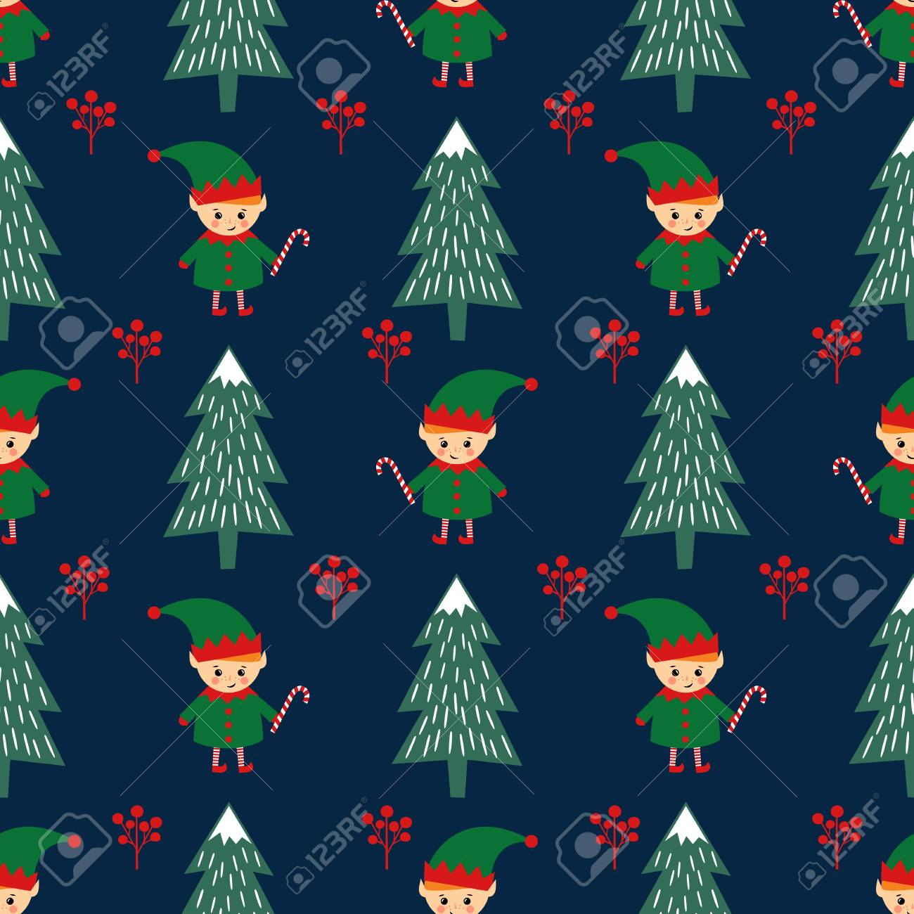 69694854 christmas tree and elf with candy cane seamless pattern on dark blue background cute winter holidays