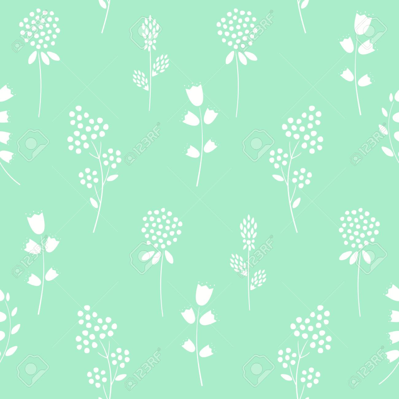 Floral Pattern On Mint Green Background Royalty Free Cliparts