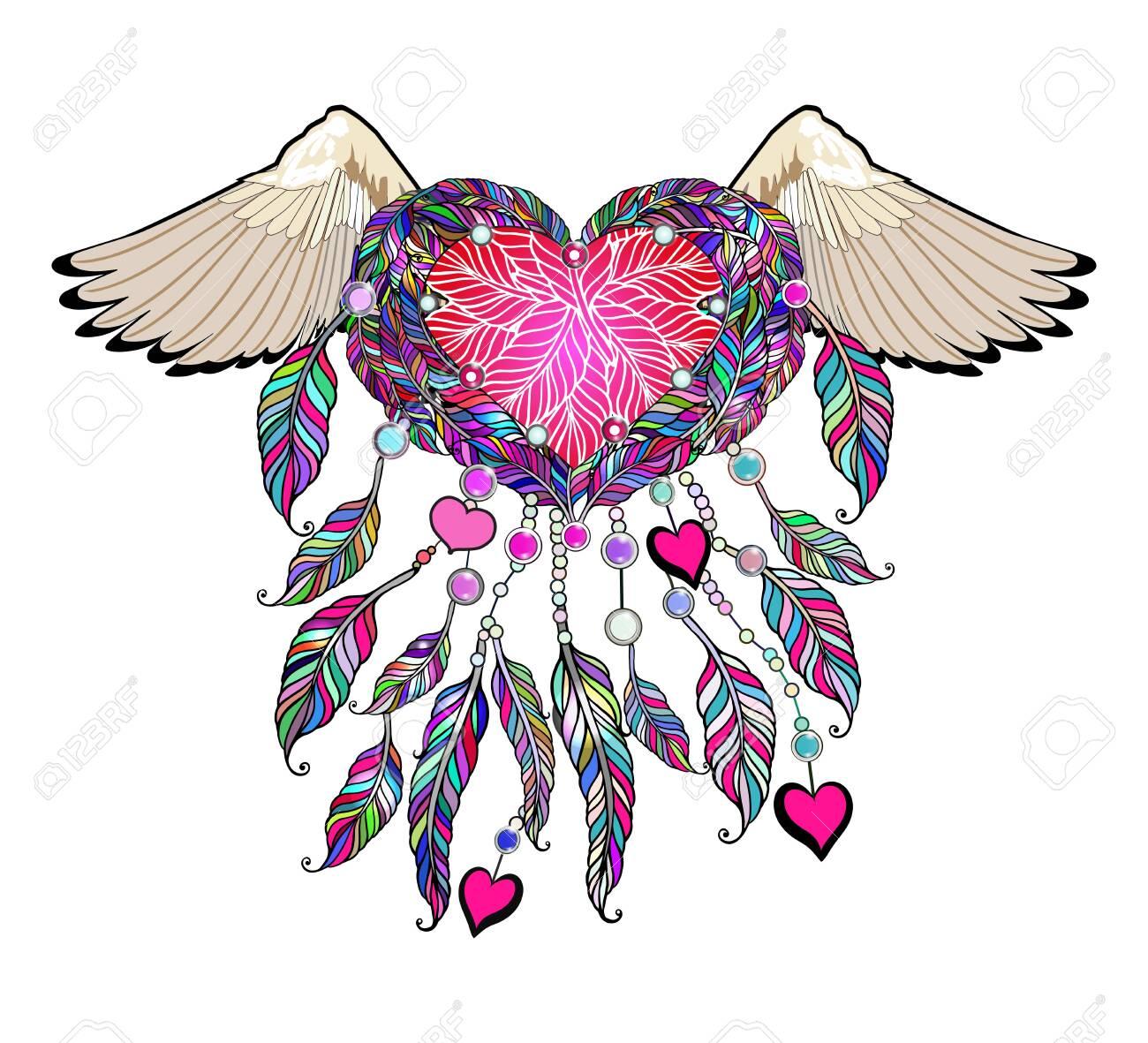 Ethnic apparel illustration - tribal amulet. - 124544902