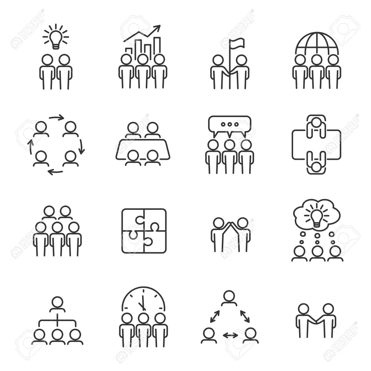 Simple teamwork line icon set. Business team concept. Management, meeting, planning, collaboration icons. Editable stroke. Vector illustration. - 136543500