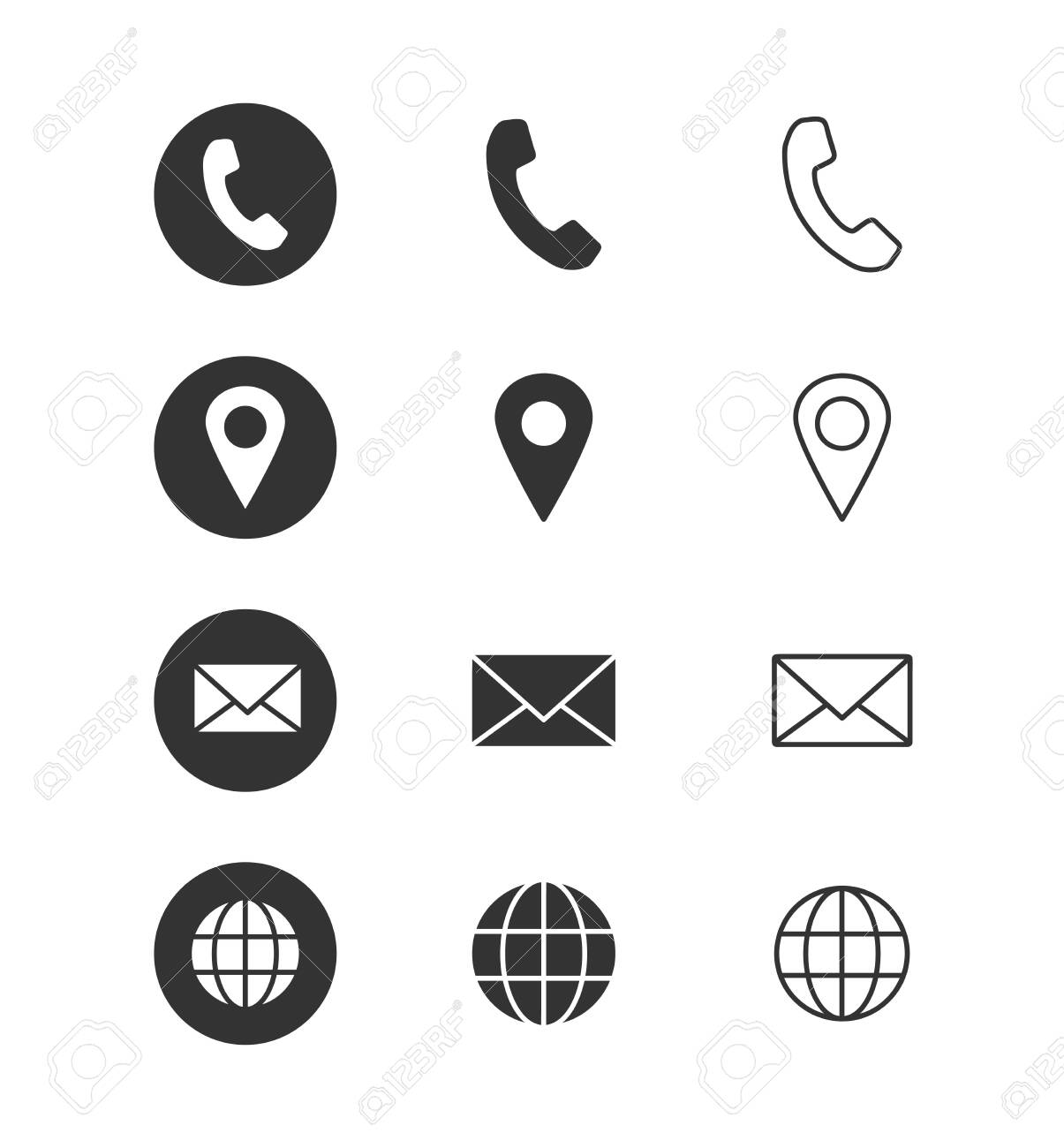 Contact info - icon set. Isolated on white background. Vector illustration. - 138457340