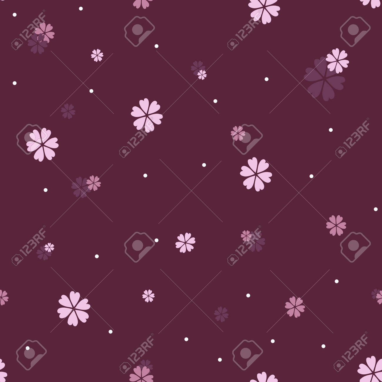 Seamless  pattern with beautiful purple and pink flowers Stock Vector - 15846893