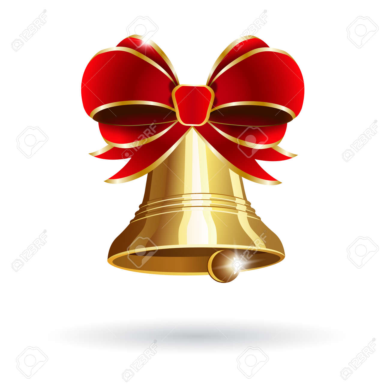 jingle bell with red bow on a white background vector illustration