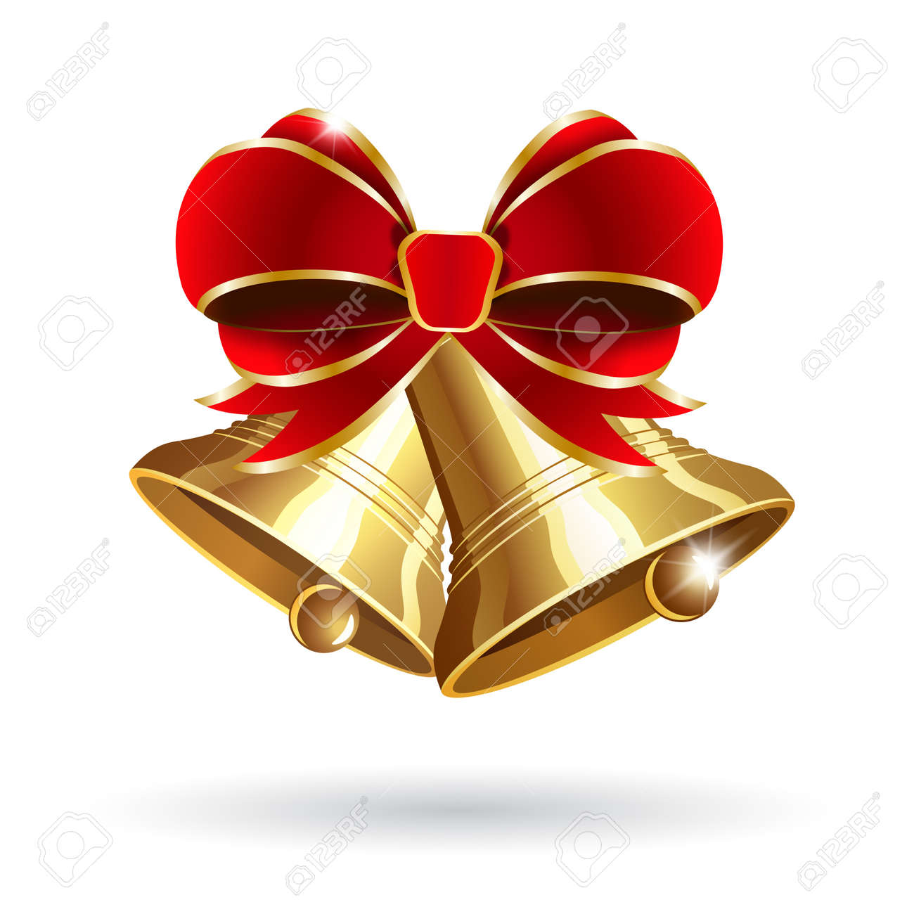 jingle bells with red bow on a white background vector illustration