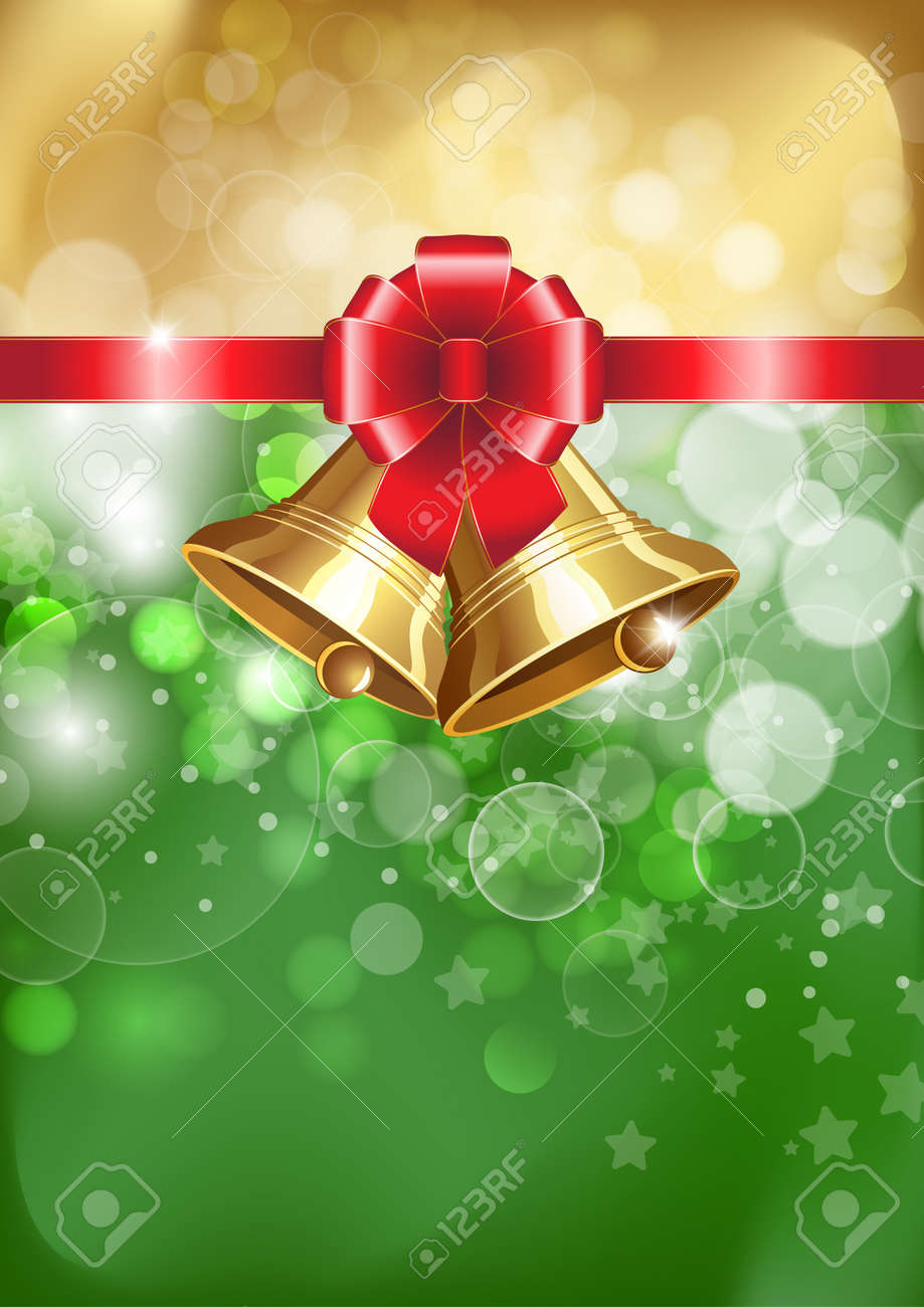 Jingle bells with red bow on a shines background. Vector illustration Stock Vector - 16220177