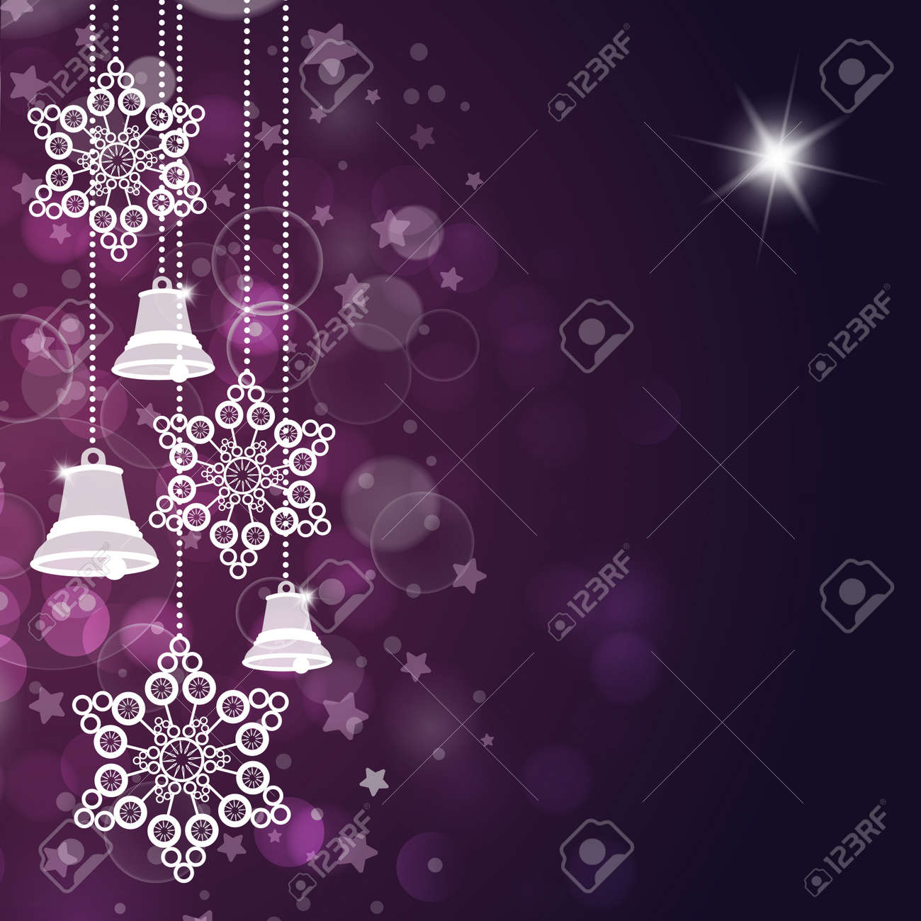 Violet christmas background with bells and stars. Vector Stock Vector - 16540208