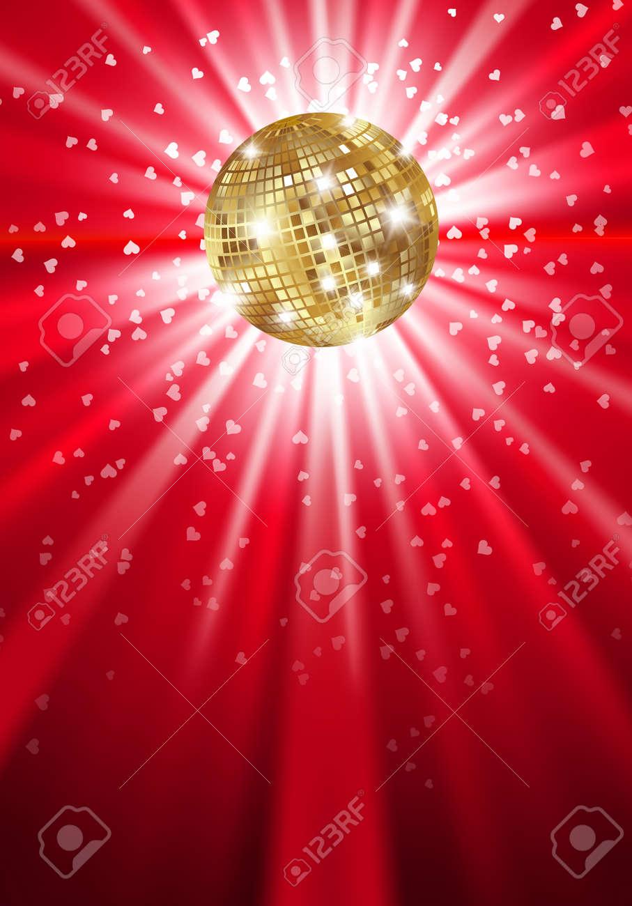 Glowing gold disco ball on a light. Vector Stock Vector - 16688810