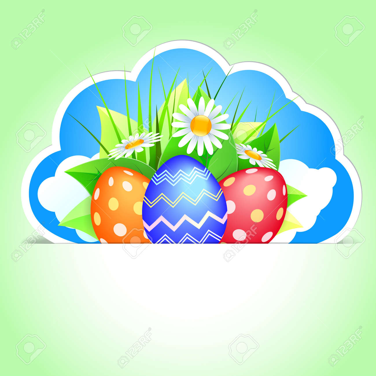 Easter label with colorful Easter eggs.  illustration Stock Vector - 18135359