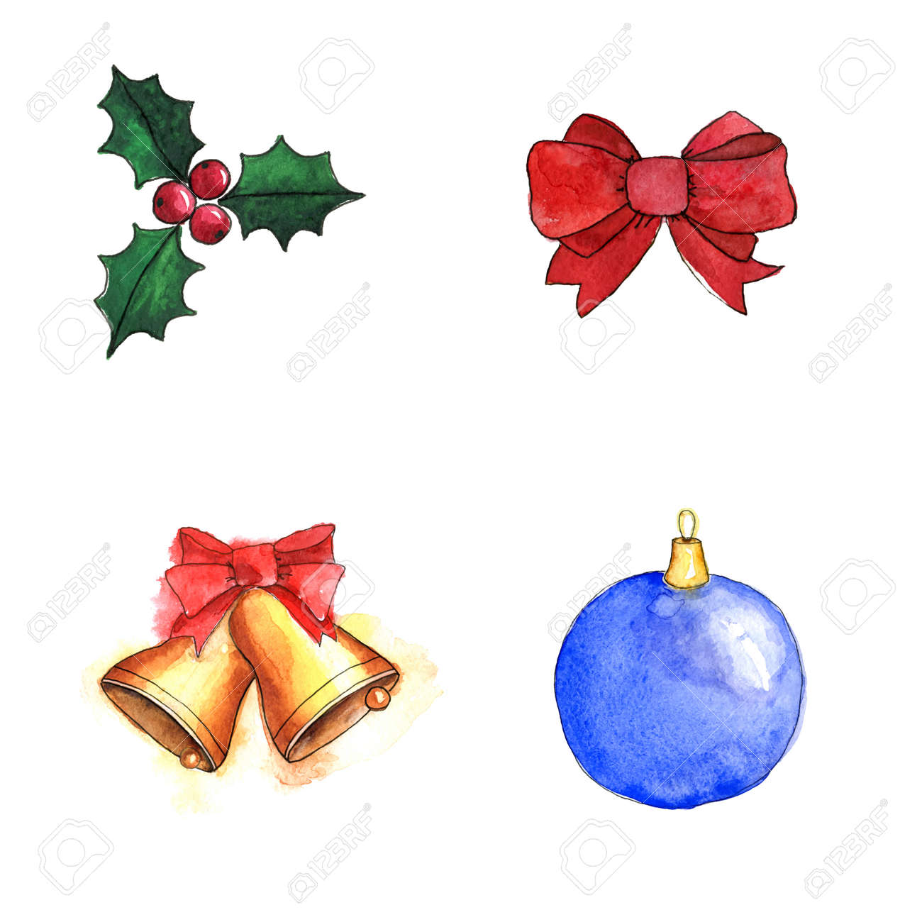 Christmas Decorations Set. Illustration For Greeting Cards ...