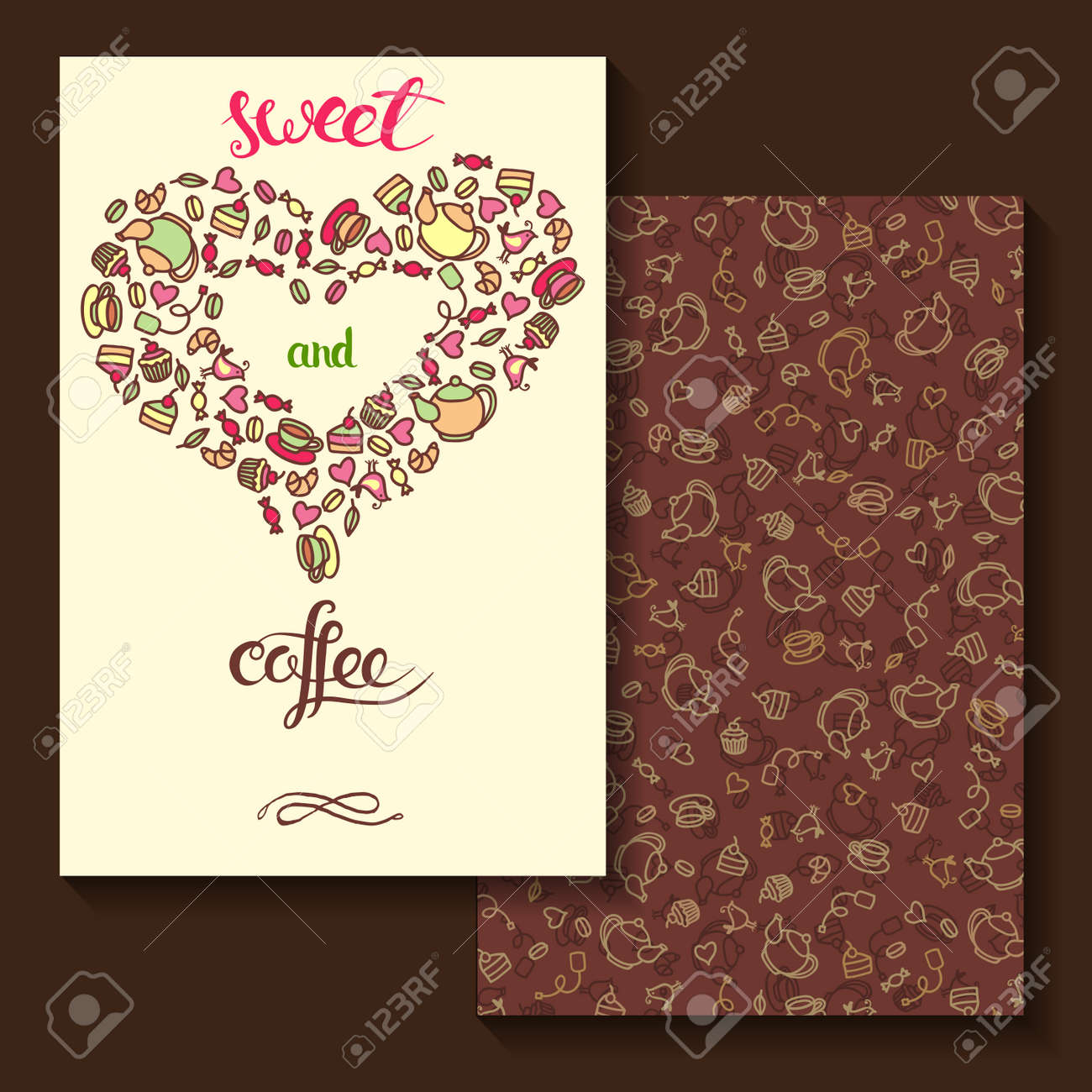 Two Sides Invitation Card Design With Tea And Coffee Dessert