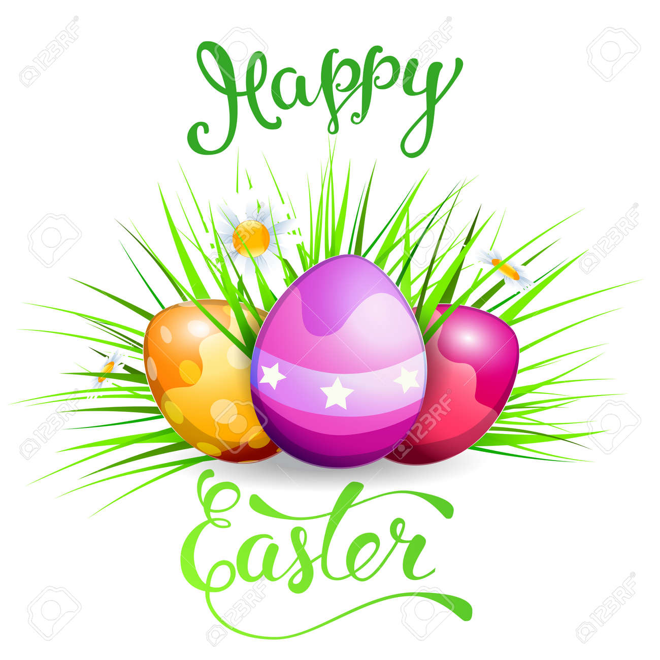Easter Greeting Card With Easter Eggs And Original Text Happy