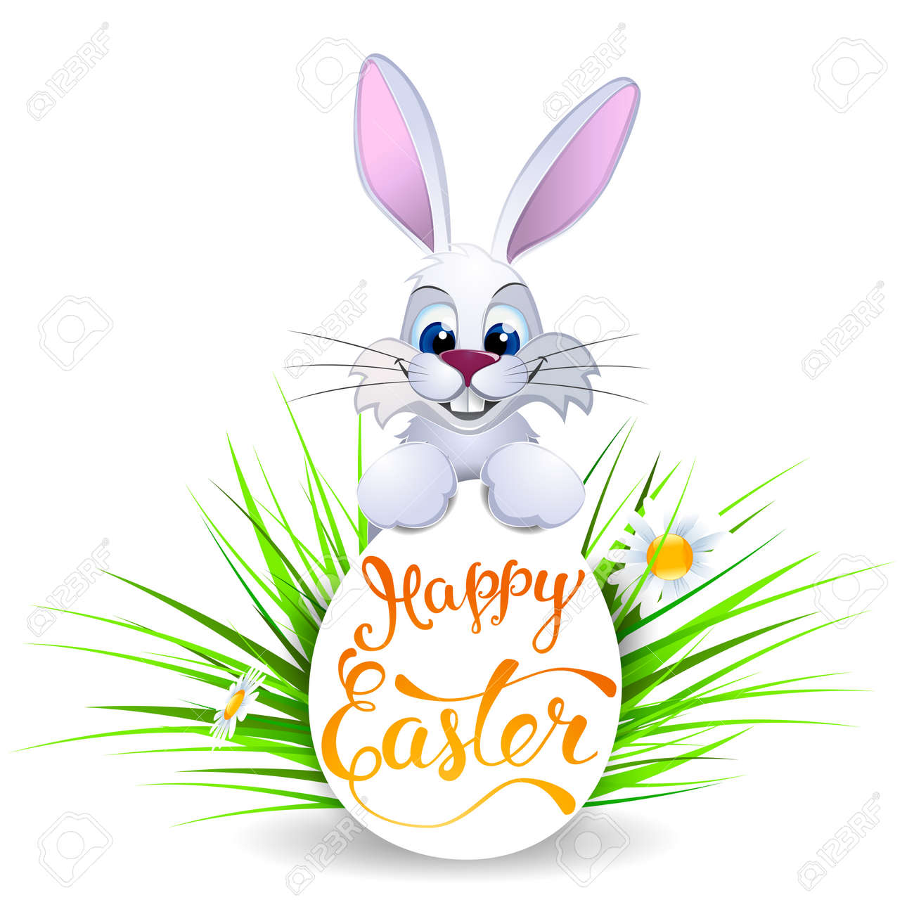 easter greeting card with easter rabbit easter egg and original