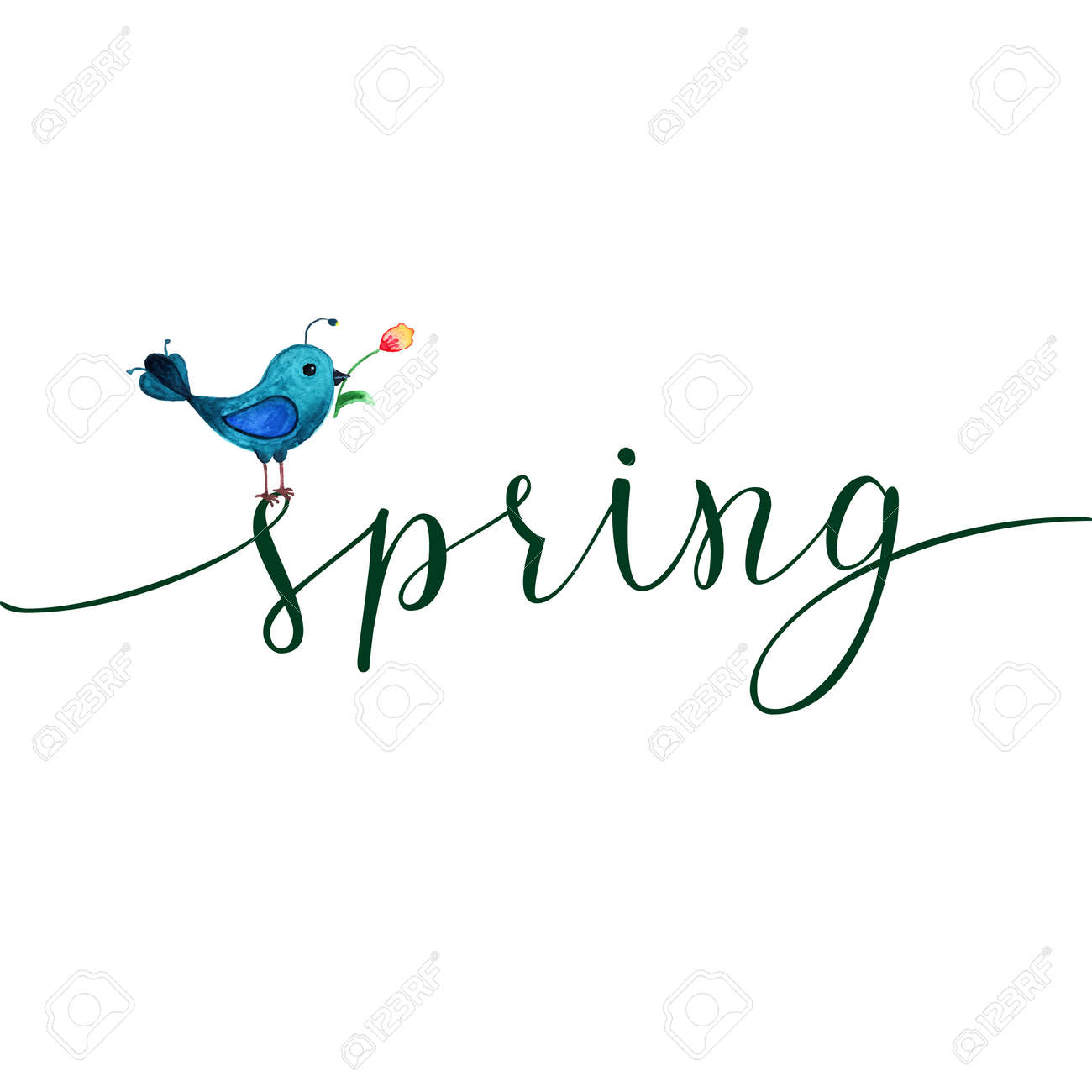 Spring Greeting Card With Blue Bird And Original Text Spring