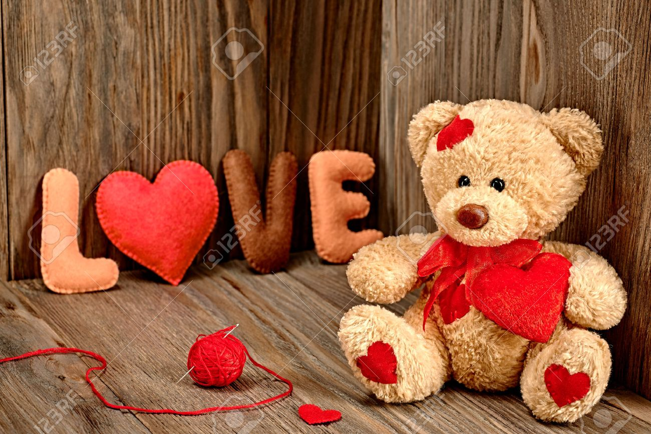 Valentines Day Teddy Bear Loving With Red Hearts Handmade Word