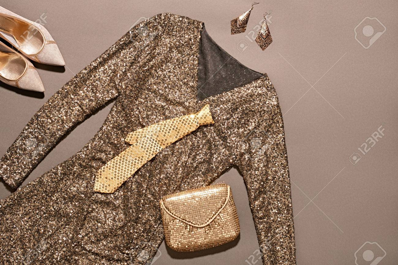 Fashion Clothes Stylish Set Blue Sequins Dress And Accessories Elegant Clutch Brown Glamor Creative Trendy Gold