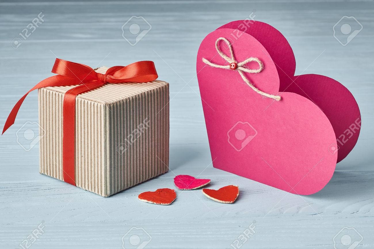 Valentines Day Love Heart Gift Box Red Ribbon Handmade Paper