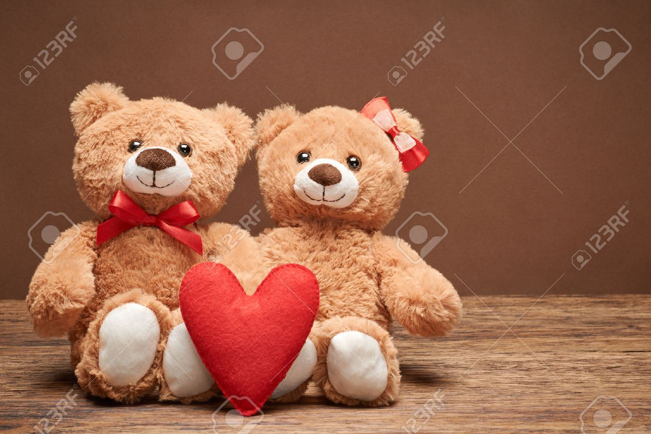 Valentines Day Love Heart Couple Teddy Bears In Embrace Hugging